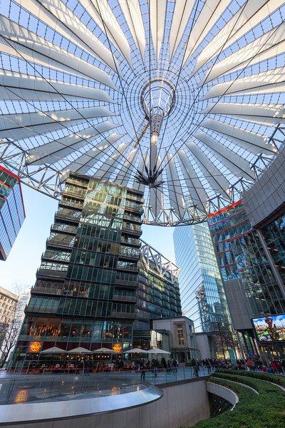 People at the Sony Center at Potsdamer Platz in Berlin