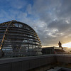 Reichstag dome in Berlin at sunset
