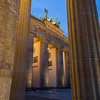 Lit Brandenburg Gate in Berlin at dusk