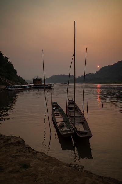 Mekong River in Luang Prabang at sunset