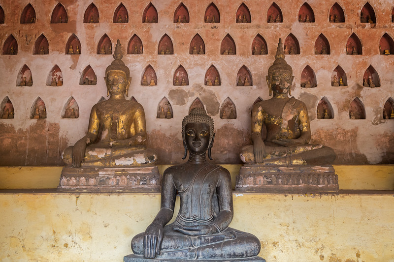 Buddha statues at the Wat Si Saket Temple