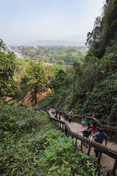 Stairs to Tham Chang cave in Vang Vieng