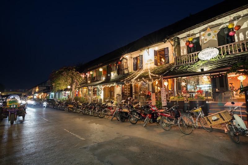 Idyllic street in Luang Prabang at night
