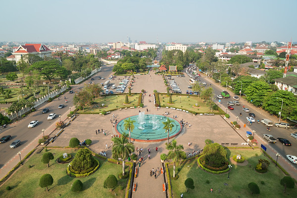 Patuxai Park viewed from above in Vientiane