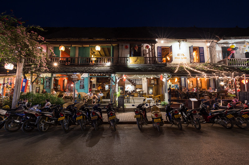 Idyllic street in Luang Prabang at night