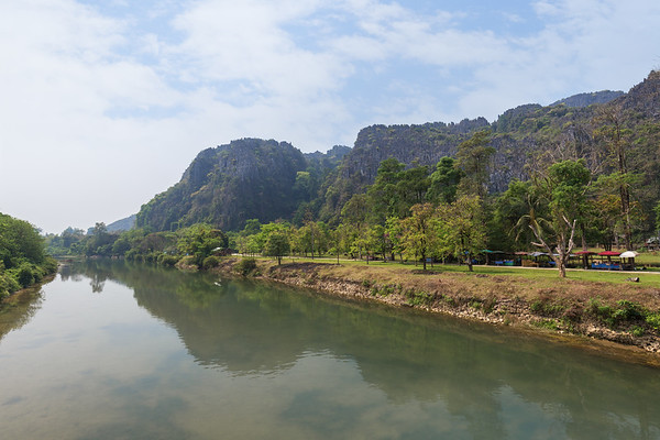 River and mountainous landscape in Vang Vieng