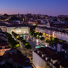 Rossio Square viewed from above in Lisbon at dusk
