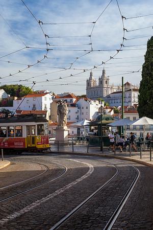 Tram near the famous Miradouro das Portas do Sol viewpoint in Lisbon