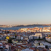 Sao Jorge Castle, Cristo Rei, Tagus River, bridge and city view in Lisbon