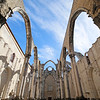 Old ruins of Convento do Carmo (Carmo Convent) in Lisbon