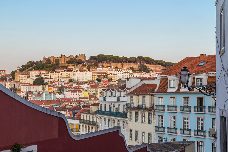 City view in downtown Lisbon at day