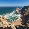 Rocky coastline, beach and Atlantic ocean in Cabo da Roca