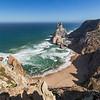 Rocky coastline, beach and Atlantic ocean in Cabo da Roca