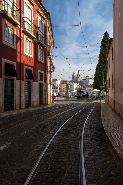 Street near the famous Miradouro das Portas do Sol viewpoint in Lisbon