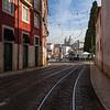 Street near the famous Miradouro das Portas do Sol viewpoint in Lisbon