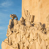 Detail of Padrao dos Descobrimentos monument in Lisbon at morning