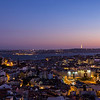 Panoramic view of the Lisbon city in the evening