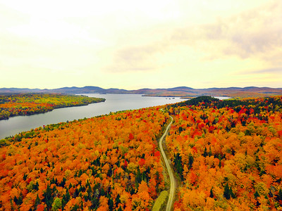 Foliage on Rangeley Lake from the Oquossoc Village