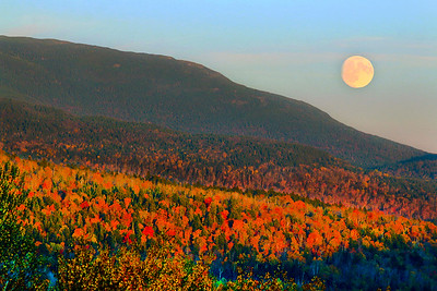 Foliage on Saddleback Mountain with the Full Moon