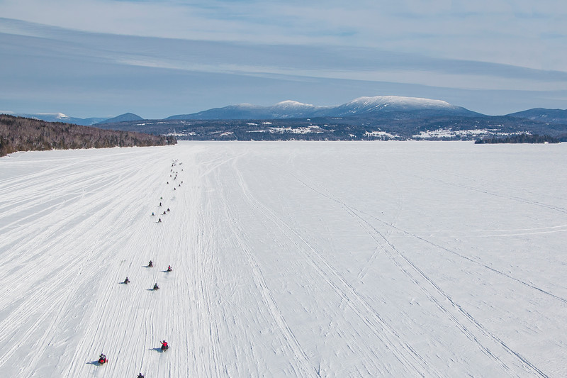 Snowmobilers on Rangeley Lake