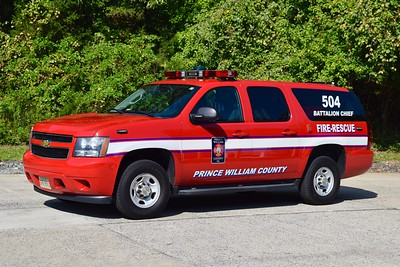 Battalion 504 is a 2013 Chevy Suburban/FastLane.  Similar units are run as BC 502 and BC 503.  Battalion 504 runs from the Manassas field office and covers Stations 7 (Lake Jackson), 8 (Yorkshire), 11 (Stonewall Jackson), and 16 (Buckhall).
