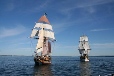 Lady Washington, right, and Hawaiian Chieftain under sail. Photo by Ron Arel / Coastal Images.