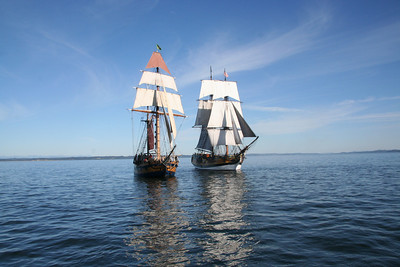 Lady Washington, right, and Hawaiian Chieftain under sail. Photo by Ron Arel / Coastal Images.