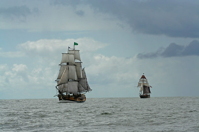 Lady Washington, followed by Hawaiian Chieftain. Photo by Ron Arel / Coastal Images.