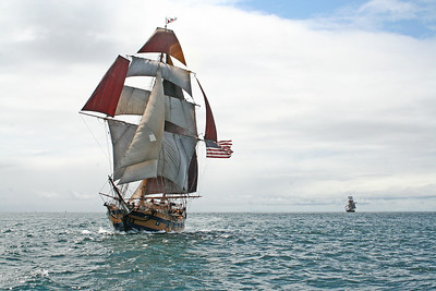 Hawaiian Chieftain, followed by Lady Washington. Photo by Ron Arel / Coastal Images.