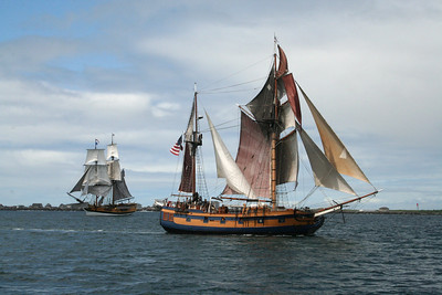 Lady Washington, left, with Hawaiian Chieftain. Photo by Ron Arel / Coastal Images.