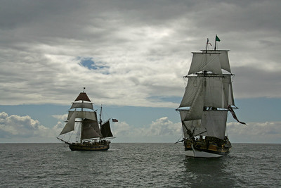 Lady Washington, right, with Hawaiian Chieftain. Photo by Ron Arel / Coastal Images.