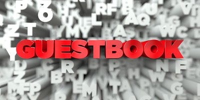 GUESTBOOK -   3D stock image of Red text on white background