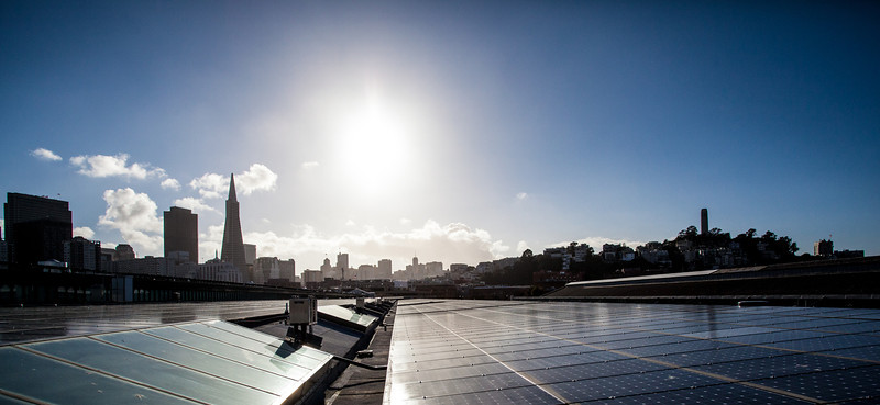 """Profile of Exploratorium's green efforts in its move to San Francisco's Embarcadero. Pictured: the Exploratorium's solar roof set against the city's skyline as the backdrop<br /> <br />  <a href=""""http://news.yahoo.com/landmark-museum-to-reopen-as-most-eco-friendly-institute-on-earth-195905286.html"""">http://news.yahoo.com/landmark-museum-to-reopen-as-most-eco-friendly-institute-on-earth-195905286.html</a>"""