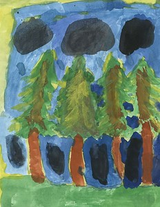 "Cloe McMillan, Rosenwald Elementary/Middle School, ""Rainy Day Tree Landscape"""