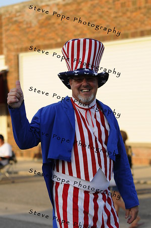 Fritz Kramer, life long Stacyville resident, marches in the 2010 Bratwurst Day parade, Saturday July 31, 2010 in Stacyville, Iowa. Steve Pope/Photo