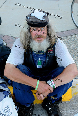 """Iowa Poet Blackie"" enjoying a beautiful night in Charles City, Iowa during RAGBRAI 2010."
