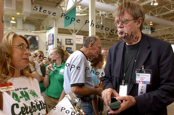 "Gary Edward ""Garrison"" Keillor ,is an American author, storyteller, humorist, and radio personality and best known as the host of the Minnesota Public Radio show A Prairie Home Companion, speaks to fair goers inside the 4-H Building at the 2008 Iowa State Fair."