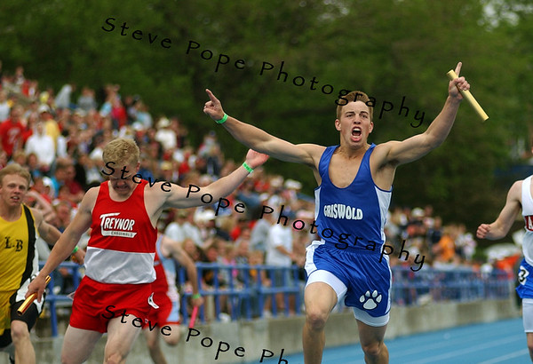 Griswold's Lucas Mosier, right, and Treynor's Austin Frain both react after anchoring their teams in the Class 1A 4x100 relay at the state track meet, Saturday May 21, 2005 in Des Moines, Iowa. Griswold beat Treynor by .09 of a second. (AP Photo/Steve Pope)