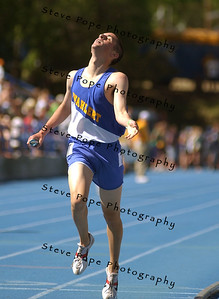 Dubuque Wahlert's Ryan Dolan crosses the finish line in their victorious Class 3A 4x800 relay team at the state track meet, Thursday May 19, 2005 in Des Moines, Iowa. (AP Photo/Steve Pope)