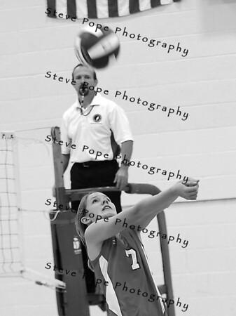 St. Ansgar's Jessica Hansen, returns the ball during a freshman match against Northwood-Kensett, Tuesday September, 11, 2012 in St. Ansgar, Iowa. (Steve Pope/Photo)