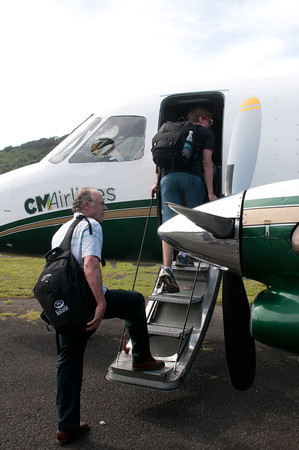 Gary Guittard boarding our plane as we got ready to leave Guanaja.