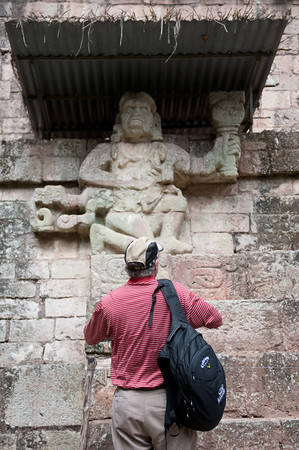 Gary Guittard of Guittard Chocolate examines the ruins of Copan during the founding of Direct Cacao.