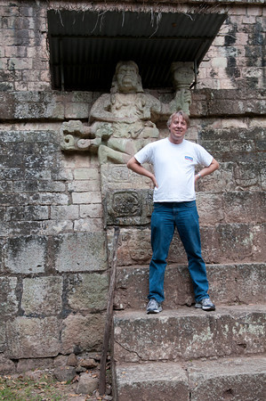 Art Pollard of Amano Artisan Chocolate poses in front of the ruins of Copan in Honduras.