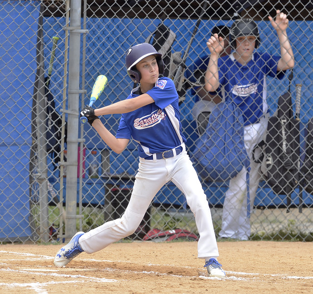 STAN HUDY - SHUDY@DIGITALFIRSTMEDIA.COM<br /> Saratoga Springs Stars batter Matt Sgambati has pitch lined up from the Marcy Deerfield pitcher during Saturday's sectional opener at West Side Rec.