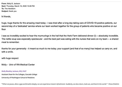 Email from Dr. Molly Jackson, UW School of Medicine