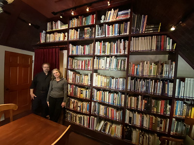 The Herbfarm's upstairs libray with Ron Zimmerman and Carrie Van Dyck