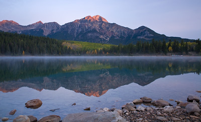 Aplenglow on Pyramid Mountain - Patricia Lake at sunrise - Jasper