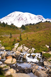A small waterfall along the Skyline Trail.  Parts of the trail were already covered with snow