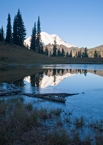 Reflection of Mt Rainer on the subalpine Tipsoo lake in the early morning
