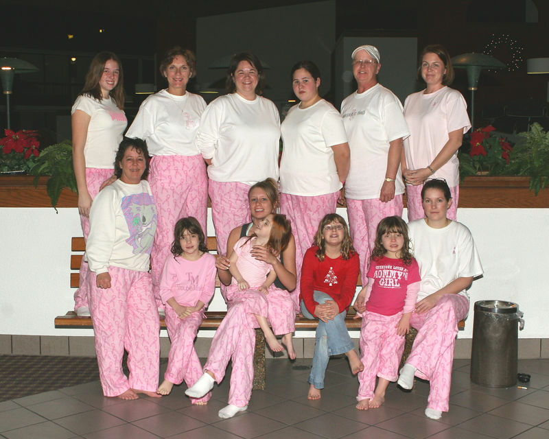 Week ending Dec. 18, 2005.  These ladies were celebtating Linda's victory over cancer by donning matching pink pants and partying in the Holidome at the Holiday Inn.  I happened to be there photographing a company party and was lucky enough to encounter this delightful group.